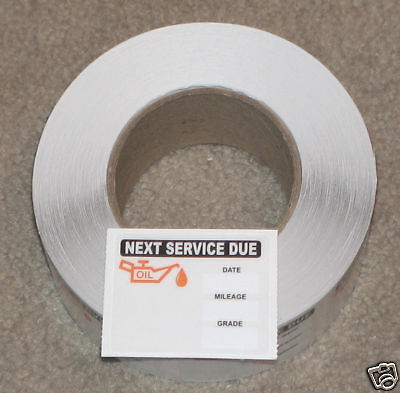 Roll of 500 STATIC CLING OIL CHANGE STICKERS DECALS LOT