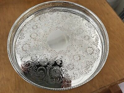 ANTIQUE SILVER PLATED LARGE ROUND TRAY VINERS OF SHEFFIELD CHASED 31cm