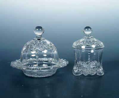 EAPG Antique Pattern Glass Victorian Child's Toy Bead Scroll Butter Dish & Sugar