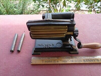 Antique Cast Iron Sad Iron EAGLE Toy Fluting Machine with Heating Slugs