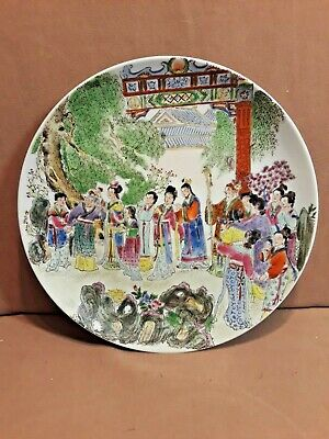 """Vintage Chinese Cantonese Famille Verte Oriental Antique 10"""" Plate"""