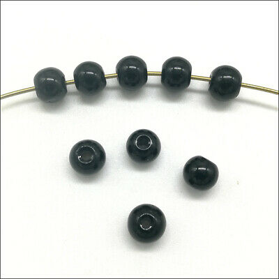 100pcs 6mm Black Round Glass Spacer Bead Loose Beads Jewelry Findings DIY Accs