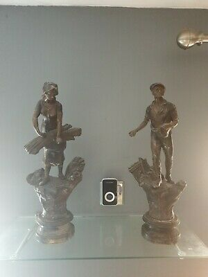 Antique Pair Of French Spelter Figures l'agriculture
