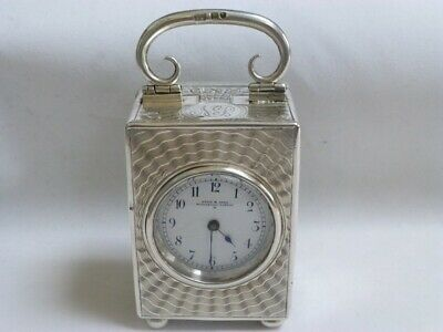 Miniature Silver Edwardian Carriage Clock Drew Of Piccadilly.  Free UK postage.