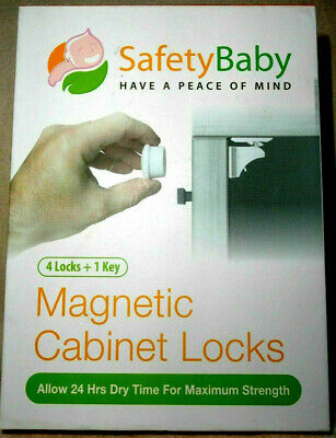 Safety Baby Magnetic Cabinet Locks 3M Tape - 4 Locks + 1 Key Brand New Un-Opened