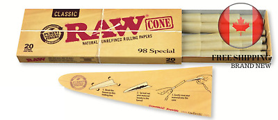 RAW Classic Natural Unrefined Hemp Pre-Rolled Cones 98 Special (20 Cones/Pack)