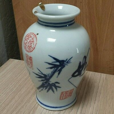 Chinese antique ancient vintage porcelain blue white painted small decor vase