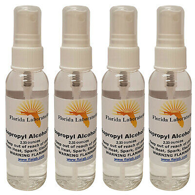 ISOPROPYL ALCOHOL 99% - 100% High Purity 2.3 oz Spray Anhydrous - packed in 4