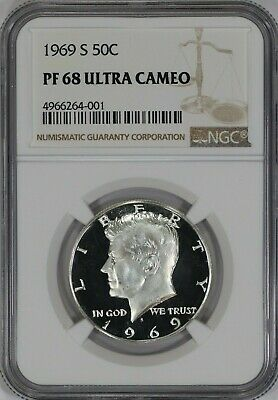 NGC Certified PR68 50c 1969-S Kennedy Half Dollar 40/% Silver 50 Cent
