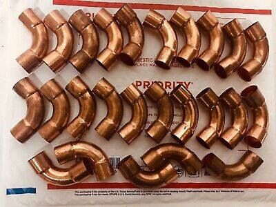 "10 3/4"" Long Radius 90 Degree Elbow C x C (Lot Of 10) COPPER PIPE FITTING 3/4""ID"