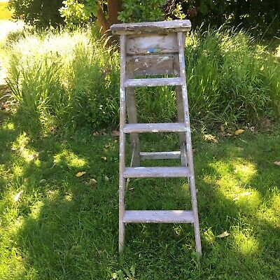 Vintage Painter's Small Wooden Folding Ladder Steps - Pantry Home Workshop Handy