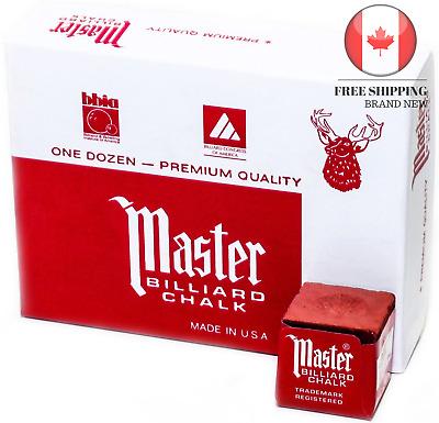 Imperial Master Game Room Sport Billiard Pool Cue Chalk Box 12 Cube Red