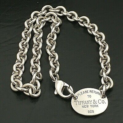 Sterling Silver Tiffany & Co. Please Return To Tiffany & Co. Oval Tag Necklace