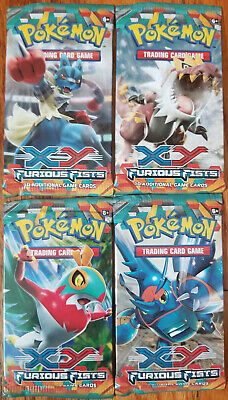 Pokemon TCG Furious Fists Factory Sealed Booster Packs x4 NEW All Artworks!