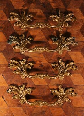 4x Vintage French Rococo Style Drawer Pull Handles Ormalu Solid Brass Large 17cm