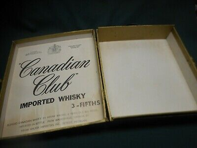 """Vintage Canadian Club Whisky Hinged """"3 - Fifths"""" Carrying Case Box ~ Circa 1950s"""