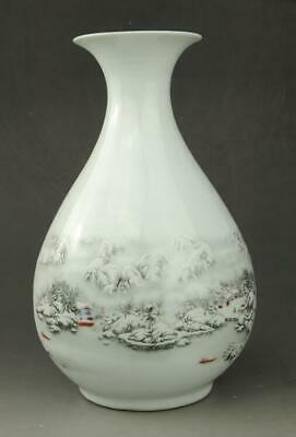 China old porcelain white glaze snow-covered landscape Jade pot spring vase c01