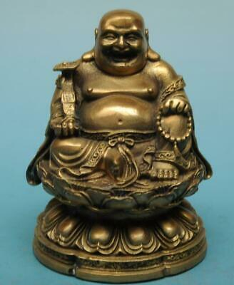 chinese old fengshui copper hand-carved Happy smile Maitreya Buddha statue e01