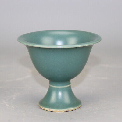 Chinese old hand-carved porcelain bean green glaze goblet / Jiaqing mark b02