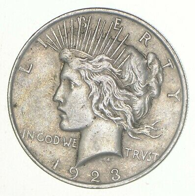 (1) VG+ 1923 American Peace Silver Dollar 90% US Coin Eagle Reverse Over 3/4 Oz