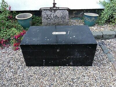 Vintage Wooden And Metal Handles Trunk Chest Storage Named Coffee Table