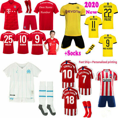 19/20 New Football Club Kit Kids Adult Short Sleeve Soocer Jersey Sports Outfits