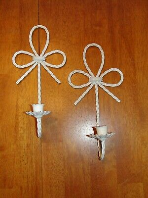 Vintage Lot Set 2 White Wire Metal Candle Holder Wall Sconce w/ Scroll Bows