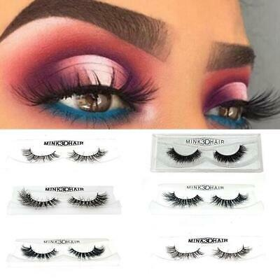 3D Mink False Eyelashes Wispy Cross Long Thick Soft Fake Eye Lashes Extensions