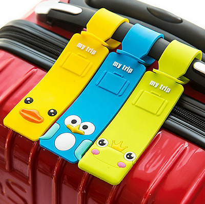1pc Silicone Cartoon Travel Luggage Tags Suitcase Baggage Label Name Address