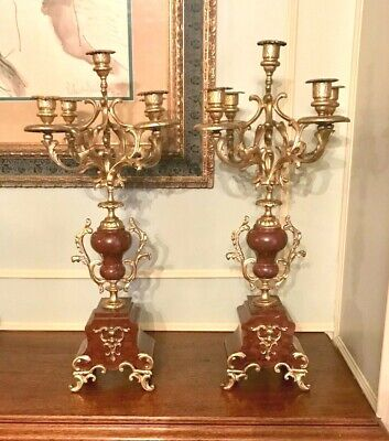 Pair Antique French Louis Xv Style Gilded Candelabras
