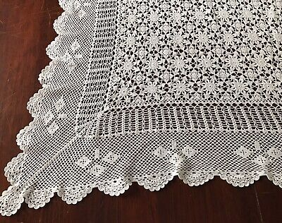 "Vintage Crochet Lace White Tablecloth Rectangular Banquet 207cm 81"" Scalloped"