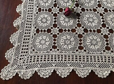 Vintage Hand Crochet Lace Cream Coffee Ecru Tablecloth Square Scalloped