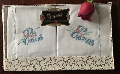 Pair Vintage Boxed His Hers Pillowcases Unused NOS Dorma Cottage Chic Pink Blue