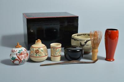 T2589: Japanese Wooden Lacquer ware TEA CEREMONY BOX Chabako, TEA BOWL TEA CADDY