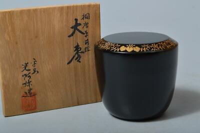 T1344: Japan Wooden Lacquer ware TEA CADDY Natsume Chaire Container w/signed box
