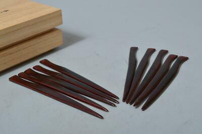 T1826: Japanese Wooden Lacquer ware PASTRY CUTTER 2pcs, w/signed box