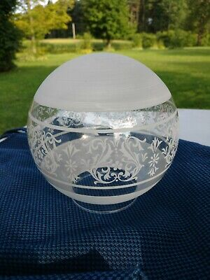 "2 Vtg Frosted Etched Light Globe Glass 6"" Lamp Cover Round Shade 3.25"" fitter"