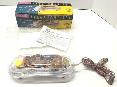 Vintage Electro Brand Model 8034 Transparent Clear Telephone Set Complete In Box