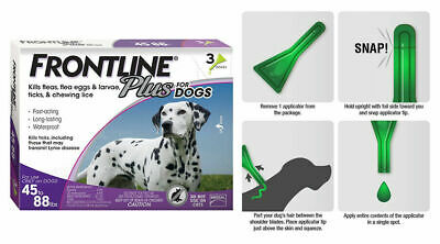 Frontline Plus for Dogs Large Dog(45-88 lbs)Flea and Tick Treatment,3 Doses