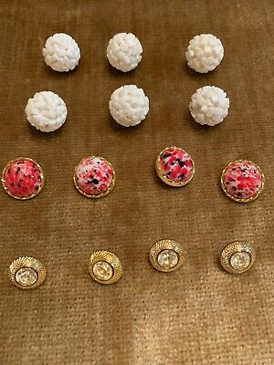 Mixed Lot of 14 Fancy Vintage Gold Tone White,Coral , Rhinestone Plastic Buttons