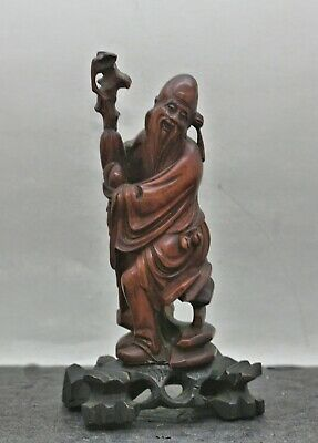 Antique Chinese Hand Carved Rosewood Statue Of God Of Longevity c1930s