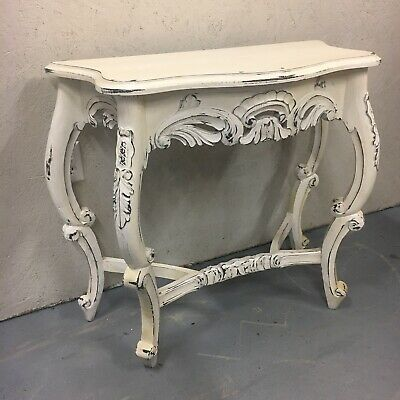 Hand-Carved Distresed White Wooden Console Table Shabby Shic Hall End Victorian