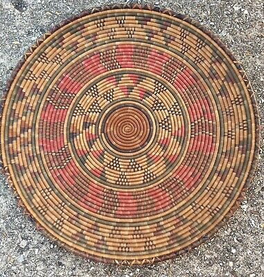 Beautiful Old Native American/African ?  Coil Woven Wall Plate Decorative Tray