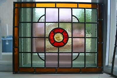 C04. Traditional leaded light stained glass window door panel made new your size