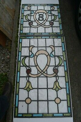 C05. Traditional leaded light stained glass window door panel made new your size