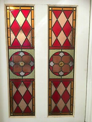 C11. Traditional leaded light stained glass window door panel made new your size