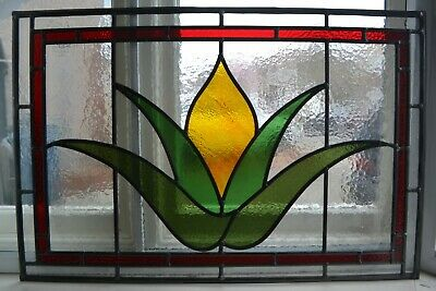 C13. Traditional leaded light stained glass window door panel made new your size