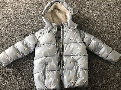 next girls coat age 4-5 silver with rabbits