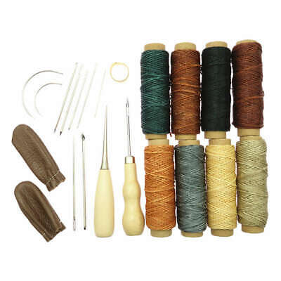 22Pcs Leather Craft Hand Stitching Sewing Tools Awl Waxed Thread Thimble Ki U1S9