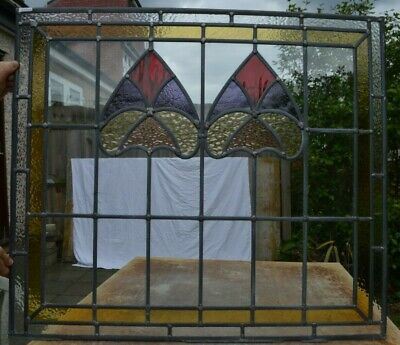817 x 712mm traditional leaded light stained glass window panel. B826b